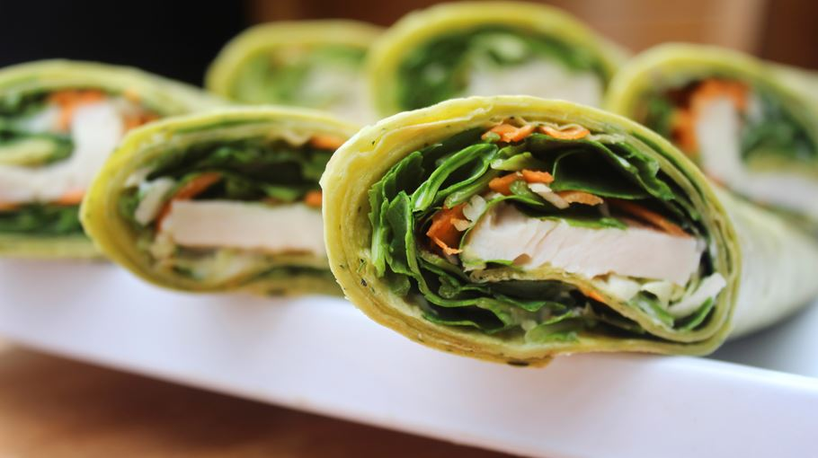 Wrap with smoked chicken, carrot and mustard mayonnaise